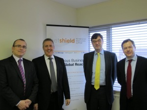 From Left to Right: Paul Noon, West Midlands Regional Director, UKTI, Richard Carty, Commercial Director,  Netshield Limited, Nick Baird, Chief Executive of UKTI and Jon Harding, Chief Operating Officer, UKTI.